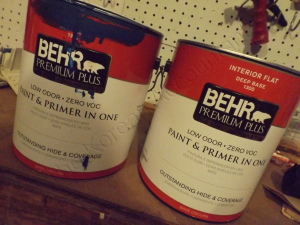 2 of the 3 gallons of Blueberry Twist Behr Premum Plus Interior paint purchased at Home Depot (the label says paint and primer, but it's just paint)