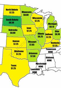 2015 Minimum wage by states in the mid-west.