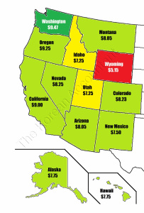 2015 Minimum wage by states on the west coast.