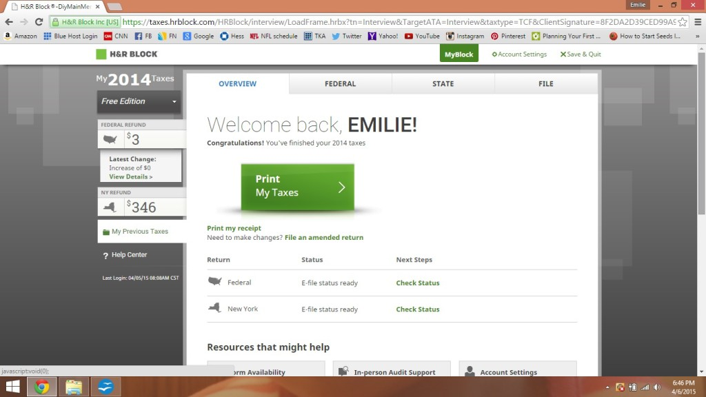 Doing my taxes on the H and R Block website.