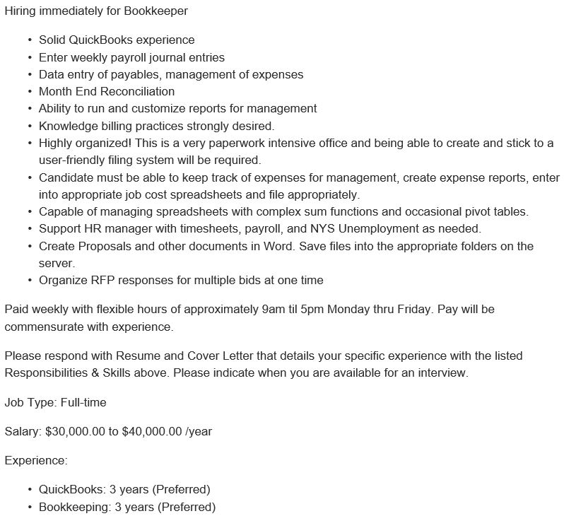 Bookkeeper Job Description - Bookkeeper Cover Letter With Little Experience