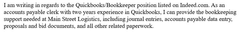 Introduction - Bookkeeper Cover Letter With Little Experience